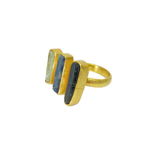 Image of   A-Smuk Design Ring - Triple - Grøn & Blå Kyanite og Sort Tourmaline - Guld