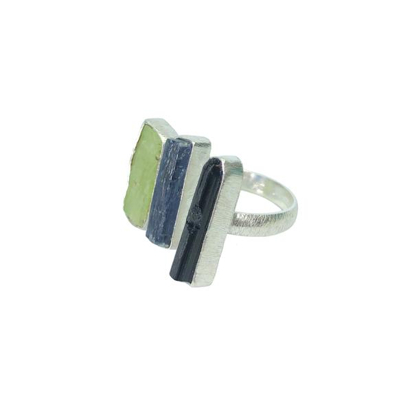 Image of   A-Smuk Design Ring - Triple - Blå & Grøn Kyanite - Sort Tourmaline - Sølv